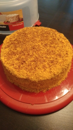 different honey cake with cream that Russian people use in Russia when they bake one