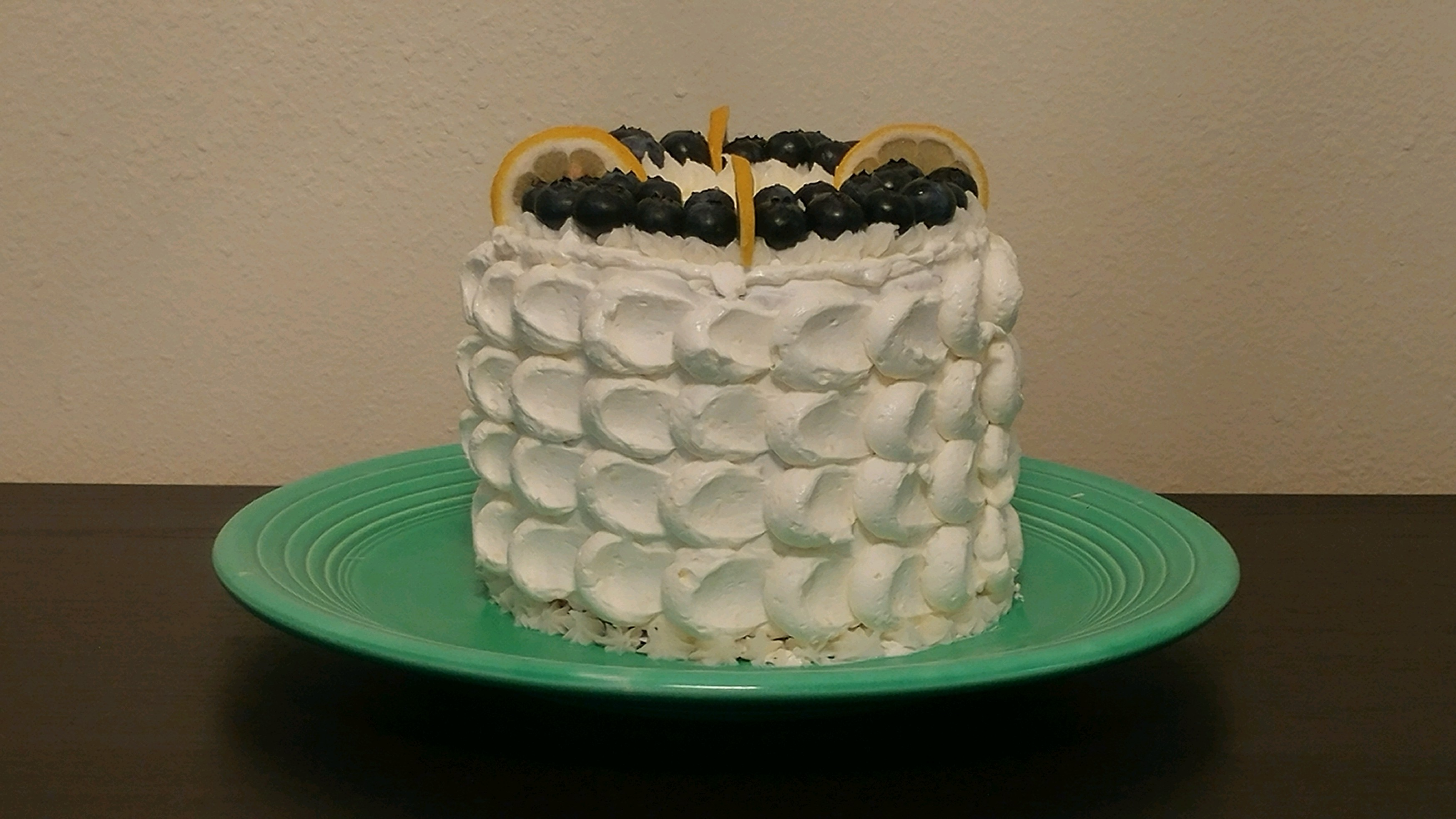 Blueberry lemon cake with lemon meringue buttercream